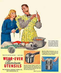 Cooking husband in wife& dress funny postcard - vintage gifts retro ideas cyo