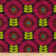 Michael Miller Hashmark Fringe Flowers Magenta - Purple and Lime - Piper Tula Fabric- Cotton - 15 Yards In Stock Retro Fabric, Cool Fabric, Artwork Design, Wall Design, Flower Patterns, Print Patterns, Bohemian Pattern, Michael Miller Fabric, Novelty Print