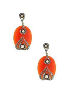 Champagne Diamond Geometric & Agate Oval Drop Earrings by Loren Jewels