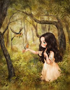 The girl in a forest