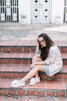 jacket pink bomber pink sneakers tumblr pink jacket bomber jacket dress mini dress grey dress sneakers pom poms pom pom sneakers sunglasses spring outfits pompon earrings