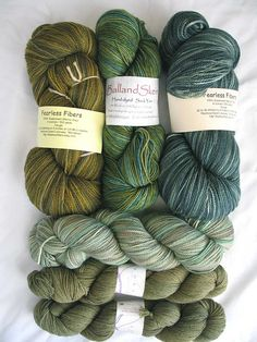 Green sock yarns.