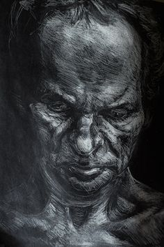 White charcoal drawings by Alexey Proshin. #draw #charcoal #illustration #portrait #whiteonblack