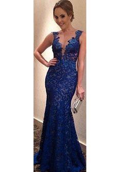 Blue Floral Ruffle Plunging Neckline Blackless Sleeveless Dress