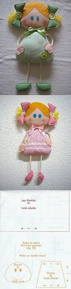 Muñeca para realizar en tela o fieltro.Como adorno o llaveros.