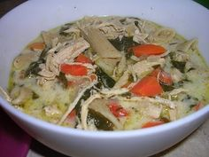 <p>Chicken Florentine Soup</p><p>This soup is out of this world!!! I believe it is my new favorite!!! During the cold months there is definitely nothing better than warm soup with homemade bread or rolls.</p><p>Chicken Florentine Soup</p><p>In a saucepan, cook all ingredients on medium low heat until smooth and creamy. Add more milk if to thick for you. Use for soup above or over your choice of pasta.</p><p>Note: for the soup you may use store bought alfredo. you will need about 2 1/2 cups…