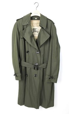 Burberry Mens Olive Green Gabardine Cotton Long Sleeve Trench Coat Size 50 $2195 #Burberry #Trench