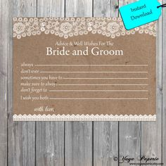 Lace Rustic Bride And Groom Well Wishes Instant Download Digital Advice Card…
