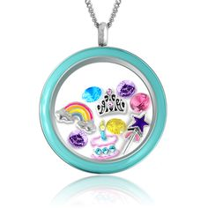 Happy Birthday Gift Floating Charms Locket! Fashion Jewelry for Girls Necklace with Crystals & Chain