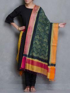 Green-Yellow Shibori Dyed Maheshwari Dupatta