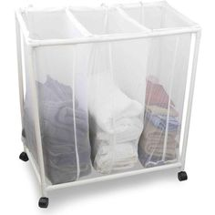 Sunbeam White Mesh Triple Laundry Sorter with Wheels