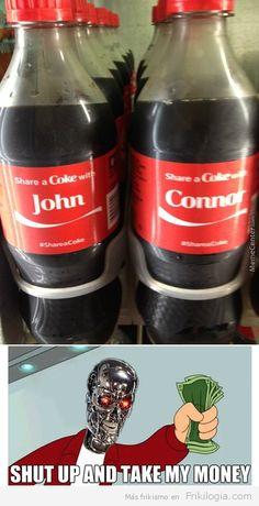 Terminator comprando Cocacolas.