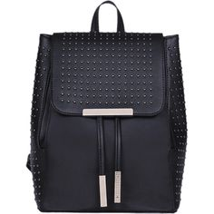 Black Studs Metal PU Leather Backpack (305 CZK) ❤ liked on Polyvore featuring bags, backpacks, daypack bag, knapsack bag, rucksack bags, day pack backpack and day pack rucksack