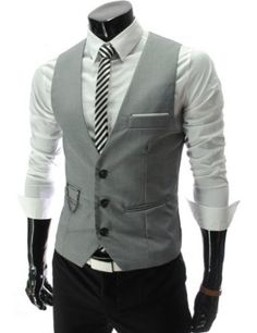 Amazon.com: TheLees Mens slim fit chain point 3 button vest: Clothing ❤ DiamondB! Pinned ❤