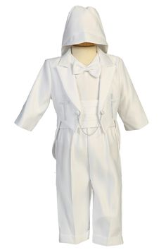 f56ea06b5 Cross & Dove Embroidered Tuxedo Satin 5 Pc Christening Outfit (Baby or  Toddler Boys Newborn