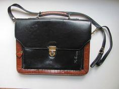 vintage bellerose black laptop briefcase / by dirtybirdiesvintage, $32.00