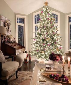Wonderful day everyone 🎄☃️ . Living Room Ideas For Christmas, Christmas Room, Merry Little Christmas, Christmas Wishes, All Things Christmas, Christmas Christmas, Childrens Christmas, Hanging Christmas Lights, Christmas Tree Decorations