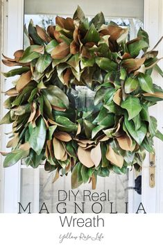 DIY Real Magnolia Wreath · Yellow Rose Life Magnolia wreaths are beautiful and can be used in so many ways to decorate. DIY a real leaf magnolia wreath, it's simple and inexpensive. Magnolia Leaf Garland, Magnolia Leaves, Magnolia Flower, Country Christmas Decorations, Farmhouse Christmas Decor, Christmas Centerpieces, Christmas Greenery, Christmas Swags, Burlap Christmas
