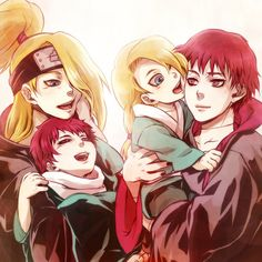 Good God! This is to damn cute. This would be how there family looks. Notice how the young one who looks like Deidara, looks like thy are trying to lick Sasori. Love it!