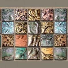handmade, carved, ceramic wall art tile by Natalie Blake