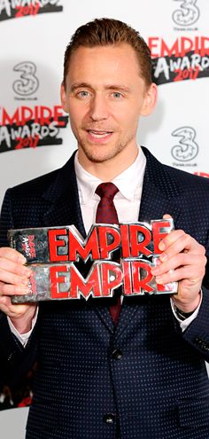Tom Hiddleston poses with the awards for Empire Hero and Best TV Series - The Night Manager in the winners room at the Empire Awards at The Roundhouse on March 19, 2017 in London. Via Torrilla. Higher resolution image: http://ww4.sinaimg.cn/large/6e14d388gy1fdss317mrjj22m93tae81.jpg