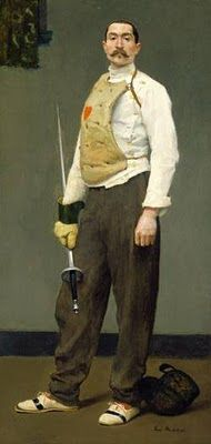 The Fencing Master (1900) by Gari (Julius Garibaldi) Melchers (American (1860-1932). Great shoes, and I like the red heart on his  breast shield - although this seems to be traditional.