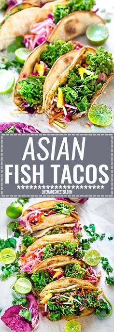 These Asian Fish Tacos make the perfect light and healthy weeknight meal. Best of all, easy to customize with toasted tortillas topped with flaky white fish fillets (you can use cod, tilapio or sole), a delicious kale slaw with purple cabbage, carrots, daikon and sweet pineapples. Delicious for Taco Tuesday or Cinco de Mayo!