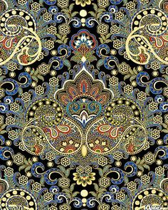 eQuilter Pondicherry - Palace Paisley - Black/Gold lovely design and colors, but don't understand the method: embroidery? Motifs Textiles, Textile Prints, Textile Patterns, Textile Design, Textile Art, Fabric Design, Indian Patterns, Paisley Design, Paisley Pattern
