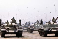 Parade of the Egyptian army for the president Anouar el-Sadate's funeral, assassinated on October 1981, 6. Soviet tanks T 60. Cairo.