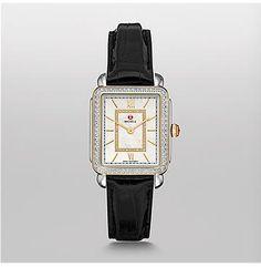 MICHELE® Watches - Deco II Mid-size Diamond Two-tone, Diamond Dial Black Alligator Watch
