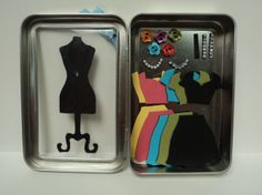 want to make something like these as a paper doll magnetic box for a birthday favor. Boutique in a Box--These framelis kept reminding me of paperdolls. The dressform & all the pieces have magnet sheet attached to the back so everything sticks in place :) Diy And Crafts, Crafts For Kids, Paper Crafts, Card Making Inspiration, Making Ideas, Matchbox Crafts, Mint Tins, Tin Art, Altered Tins