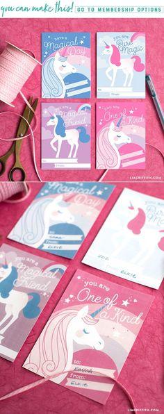 Download a print a set of enchanting unicorn Valentines - Lia Griffith - www.liagriffith.com #diyvalentines #diyvalentinesday #printable #printables #diyidea #diyideas #diyinspiration #diykids #madewithlia