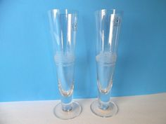 HAND BLOWN Toscany Pilsner Beer Glasses W/ Etched Tall Ship (Romania) Set of 2 #TOSCANY