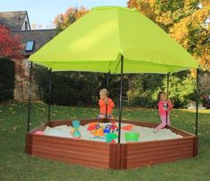 Hexagonal Sandbox 7′ x 8′ x 12″ in 2″ Composite Wood Grain Timbers with Canopy, Sandbox Cover and Sandbox Liner It will never rot, become infested nor splinter! Manufactured from 60% re-cycled, post-consumer plastic and 40% natural fiber. The bright colored Hexagonal Sunshade Canopy is sturdy and easy set up. Includes a removable, matching, water [...]