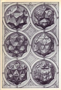 Aqua (a) - Perspectiva Corporum Regularium - Wenzel Jamnitzer 1568 / Sacred Geometry Geometry Art, Sacred Geometry, Solid Geometry, Mathematics Geometry, Geometry Tattoo, Tattoo Geometrique, Platonic Solid, Psy Art, Modelos 3d
