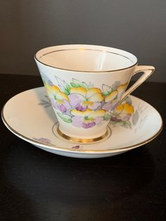 Gorgeous Vintage Art Deco Phoenix TF&S Bone China Teacup and Saucer, Hand Painted, stunning pastel coloured Flowers, Gorgeous Set! Tim Hortons Coffee, Pastel Flowers, Hand Blown Glass, Pansies, Teacup, Bone China, Cherry Blossom, Hot Chocolate, Vintage Art