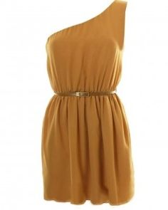LOVE Camel Sleeveless One Shoulder Dress - Love - StyleSays