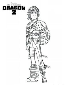 kleurplaat How to train your dragon (hoe tem je een draak) 2 - hiccup