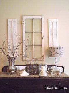 shutters and old window.  I'd add more color to this vignette but the idea is good.