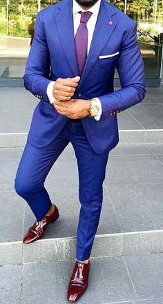 Wedding Suit Royal blue suit with purple tie and brown shoes. Blue Suit Brown Shoes, Blue Suit Men, Purple Suits, Cobalt Blue Suit, Mens Fashion Suits, Mens Suits, Royal Blue Suit Wedding, Royal Blue Mens Suit, Wedding Blue