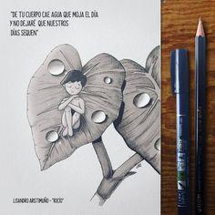 Hoy saqué a pasear a mi perrita y vi sobre las hojas muchas gotas de rocío. Inmediatamente pensé en mi novia, Rocio, sentada en una de ellas.  La letra que acompaña el dibujo (hecho con marcador y lapices #tombow ) es de una canción que se llama igual que mi novia, del cantautor argentino, Lisandro Aristimuño  #rocio #dew #leaf #hoja #naturaleza #letra #lyric #song #lisandroaristimuño #aristimuño #pencil #lapiz #arte #art #artsupply #artsupplies #tombowperu #dibujo #dibujodeldia #draw…