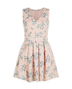 Blue Vanilla Pink Floral Print Mesh Panel Skater Dress   New Look