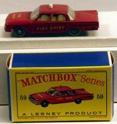 #59 Matchbox Lesney Fire Chief car - 1961 Ford Fairlaine