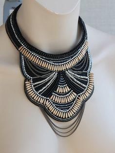Necklace Bead Embroidery beadwork beaded beading by NatashaBiser