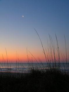 Moon at sunrise, Emerald Isle, North Carolina