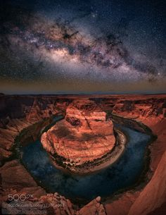 Horseshoe bend with milkyway by freebilly. Please Like http://fb.me/go4photos and Follow @go4fotos Thank You. :-)