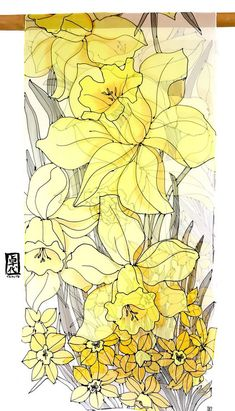 Silk Bridal Shawl, Evening Formal Wrap, Hand Painted Silk Scarf, Summer  Scarf Yellow, Floral Summer Scarf, Japan Gift, Yellow Daffodil Scarf 43ae7c8807a
