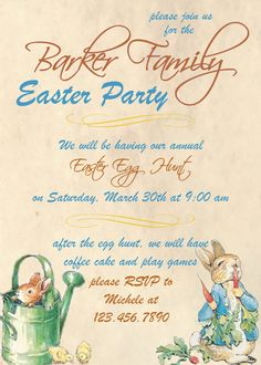 Peter Rabbit Easter Party/Egg Hunt Invitation. $8.00, via Etsy.