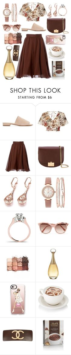 """Brown & Girly"" by pulseofthematter ❤ liked on Polyvore featuring Mansur Gavriel, River Island, Carolina Herrera, Victoria Beckham, INC International Concepts, tarte, Christian Dior, Casetify and Karl Lagerfeld"