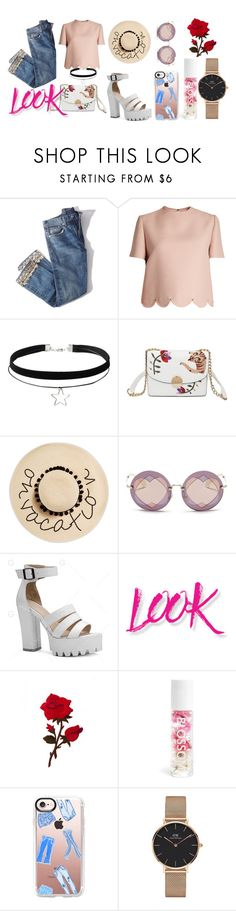 """Vacation"" by rsytsfn-xx on Polyvore featuring Brock Collection, Valentino, August Hat, Miu Miu, NYX, Blossom, Casetify and Daniel Wellington"
